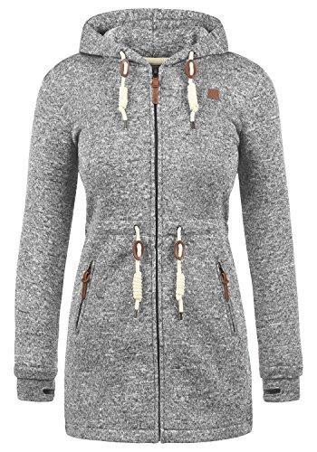 DESIRES Thora Damen Lange Fleecejacke Sweatjacke Jacke Mit Kapuze Und Daumenlöcher, Größe:M, Farbe:Dark Grey (2890)