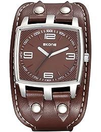 Skone banda de piel diseño de nuevo Marca Fashion reloj Casual Hombres Reloj mujer reloj de pulsera de cuarzo unisex reloj hora de regalo