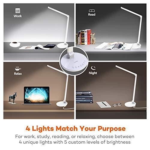 ZoeeTree L7 Lampada da Tavolo, 4 Modalità graduali di Colore, 5 livelli Dimmerabili, con Uscita USB, 11W, Pieghevole Controllo Toccare Sensibile, Lampada da Lettura non Affatica la Vista (Bianco)