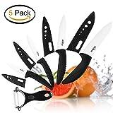 Kealive Cuchillos Cerámica Set [ 5 Piezas ] Juego de Cuchillos de Cocina 4 Cuchillos de Cocina con Chaqueta Protectora Añadir 1 Pelador Cerámica Sharp Sano Resistente a la Corrosión (Negro + Blanco)
