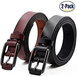 ANDY GRADE Set de 2 Mujer Cinturón Piel de vacuno Moda Cinturones Ajustable Cintura Retro Ropa Para Jeans Pantalones Cortos Vestidos Para Mujeres Con la hebilla del Pin de la aleación BY
