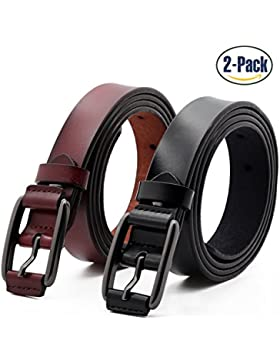 Set de 2 Mujer Cinturón Piel de vacuno Moda Cinturones Ajustable Cintura Retro Ropa Para Jeans Pantalones Cortos...