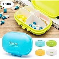 WESEEDOO Mini Kunststoff Pill Box Fall Tragbare Medizin Container mit 4 Kammern täglich Pill Box Vitamin Organizer... preisvergleich bei billige-tabletten.eu