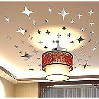 ملصقات جدارية قابلة للازالة مصنوعة من الاكريليك بنمط نجوم مبهجة، ورق جدران لغرفة المعيشة