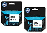1x Set Original HP Tintenpatrone F6U66AE F6U65AE HP 302 HP302 für HP Officejet 3830 - BLACK + Color - Leistung: BK ca. 190 / Color ca. 165 Seiten/5%