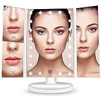 BESTOPE Schminkspiegel 1x/2x/3x Vergrößerung mit 21 LED Leuchtmittel Kosmetikspiegel Tischspiegel Touchscreen Standspiegel Faltbar Dimmbar Make Up Spiegel 180 ° Einstellbar Rasierspiegel Drehung(weiß)
