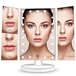 BESTOPE Vanity Makeup Mirror 1x/2x/3x Magnification Trifold 21 LED Lights with Touch Screen and USB Charging, 180 Degree Adjustable Stand for the Countertop Cosmetic Makeup Mirror