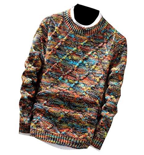 CuteRose Mens Slim Fitted Fleece Soft Vintage Knit Pullover Sweater Jumper L