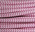 Textilkabel Stoffkabel fuchsia - weiß , 3-adrig rund , 3x0,75