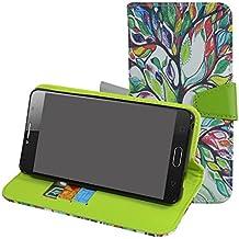Alcatel Pop 4S Funda,Mama Mouth PU Cuero Billetera Cartera Monedero Con Soporte Funda Caso Case para Alcatel One Touch Pop 4S 5.5 inches Smartphone,Love Tree