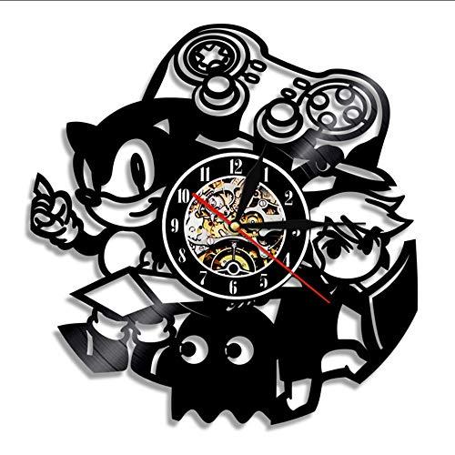 hhcuij Vintage Schallplatte Wanduhr Modernes Design Spiel Thema Sonic The Hedgehog Cd Uhren 3D Wanduhr Dekoration 12 Zoll