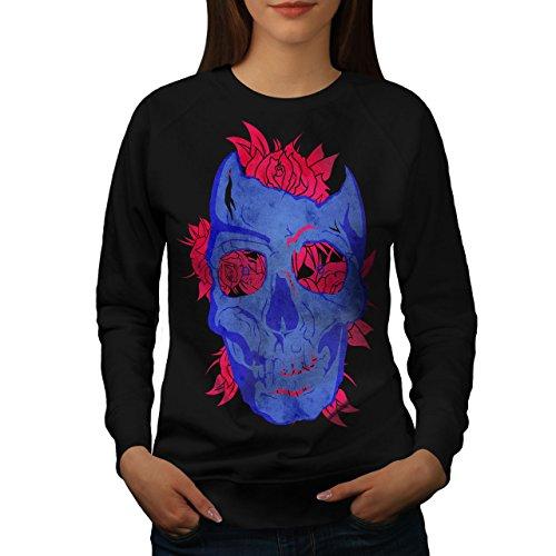 Mort Fleur Rose Crâne Femme S-2XL Sweat-shirt | Wellcoda Noir
