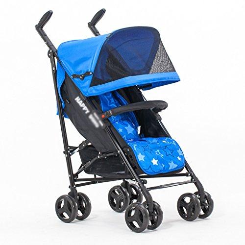 ERRU Cochecito Carritos con capazo Cochecito ligero de la manera / puede sentarse o mentir Invierno y verano Uso doble plegable bebé Trolley(colores opcionales) Para los padres que quieren viajar a la moda ( Color : Azul )