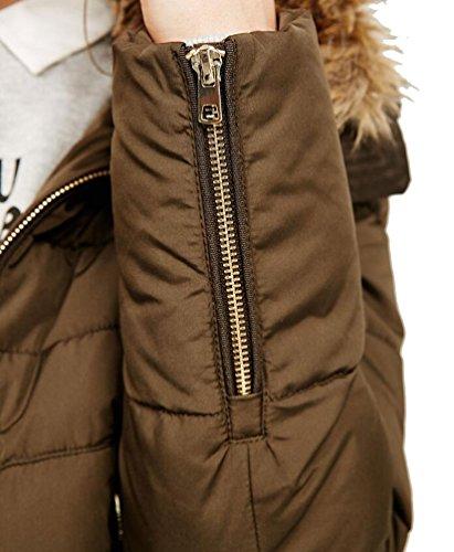 Brinny Damen Parka Fellkapuze Winter Jacke warme Stepp Winterjacke Kurzjacke Armee Grün