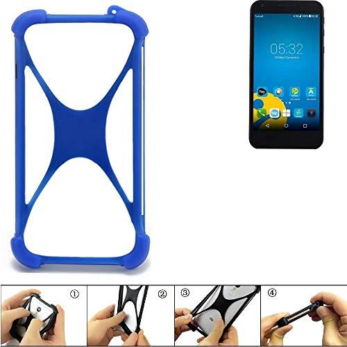 K-S-Trade Handyhülle Vestel 5000 Dual-SIM Silikon Schutz Hülle Cover Case Bumper Silikoncase TPU Softcase Schutzhülle Smartphone Stoßschutz, blau (1x)