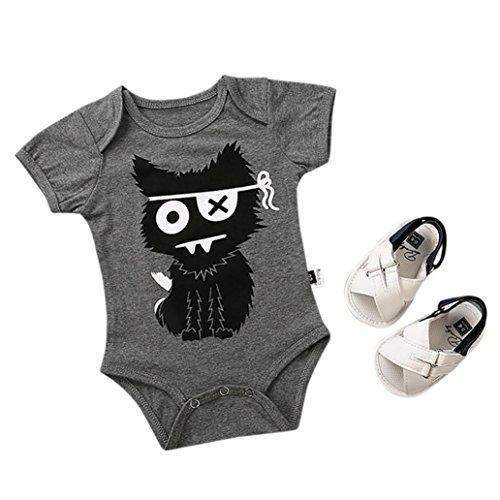 mwolle t-shirt Bodys Piraten Katze drucekn Strampler niedlich säugling Sandalen mode strand oberteile mädchen Gemütlich gestreift Spieler, 0-24 Monate (3 Monate, A) (Baby Piraten Kostüm)