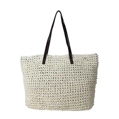 sornean Große Stricktasche mit Strohhalm, 100% handgefertigt, Sommer, Strand, Tote Bag Top Reißverschluss Schultertasche, Weiá (gebrochenes weiß), Large - Gefüttert Stroh Tote