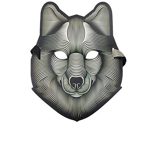 NUOKAI Belichtete Sprach-aktivierte grelle Maske Erwachsene Halloween-Horror-Nachtparty Partei-Leuchtstoff-LED-Maske, Wolf