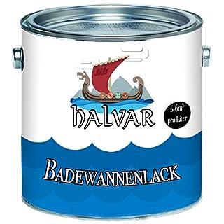 Halvar 2K Badewannenbeschichtung skandinavischer Badewannenlack für Keramik Emaille Acryl Fliesen Badewanne Porzellan Stahl Fliesen Kunststoff GFK hochwertiger Schutz! (2,5 kg, Weiß)
