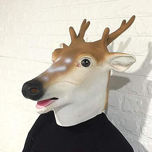 Halloween Requisiten Hirsch Kopf Tier Maske Cosplay Partei Ordentlich Latex Props Fancy Dress Kopfbedeckungen (Farbe : B)