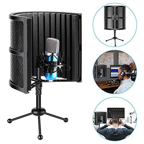 Neewer Kompaktmikrofon-Isolierschild mit Stativ, Mikrofon absorbierender Schaum für Studioaufnahmen, Podcasts, Vocals, Rundfunk (Mikrofon und Shock-Halterung nicht enthalten)
