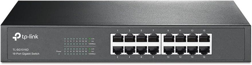 TP-Link TL-SG1016D 16-Port Gigabit-/Netzwerk Switch (Rackmount, 32Gbit/s Switching-Kapazität, geschirmte RJ-45 Ports, Metallgehäuse, IGMP-Snooping, unmanaged, Plug-und-Play) schwarz