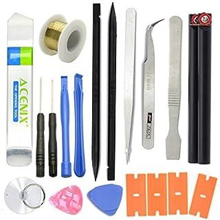 ACENIX® 19 in 1 Opening Repair Pry Tool Set Spudger Tweezers Nylon Plastic Opener Screwdrivers [ Professional 19 Pcs Tools iN Kit Life Time Hard Plastic Case Bag ]