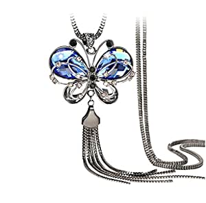 Sansar India Antique Style Butterfly Blue Crystal Long Chain Pendant Tassel Necklace for Girls and Women