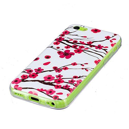 Apple iPhone 5C Hülle, SATURCASE Schönes Muster Leuchtend Fluoreszierend Ultra Dünn Weich TPU Gel Silikon Schützend Zurück Case Cover Handy Tasche Schutzhülle Handyhülle Hülle für Apple iPhone 5C (Mus Muster-4