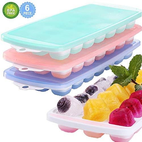 3 Packs Eiswürfelschale, Silikon Eiswürfelform mit Deckel, LFGB Zertifiziert BPA frei Silikon EIS Cube Formen Babynahrung, Wein, Schokolade und andere Getränke Eisformen (21Cubes / Pack)