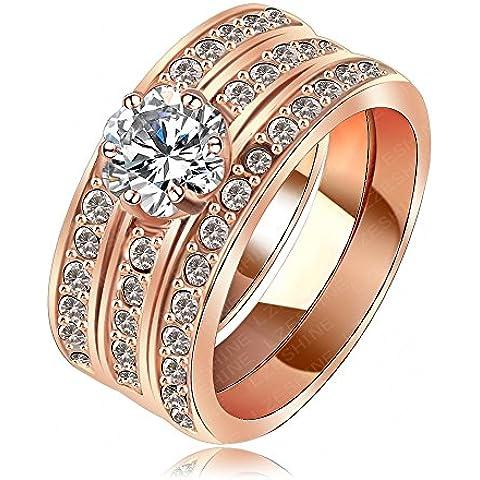 AnaZoz joyería 18 K plateado mujeres anillos de oro rosa junta Austria cristal anillo Ladies confíes anillo Hochzeit eheringe