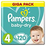 Pampers Baby Dry taille 4, 8–16 kg, Mega Plus Pack, 120 pièces