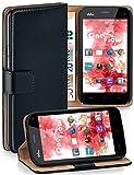 moex® Booklet mit Flip Funktion [360 Grad Voll-Schutz] für Wiko Darkmoon   Geldfach & Kartenfach + Stand-Funktion & Magnet-Verschluss, Schwarz