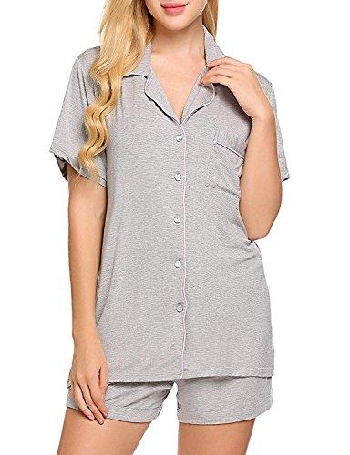 Ekouaer Damen kurz Schlafanzug Pyjama Zweiteiliger Set Nachthemd Sommer Sleepshirt Shorty - Gr. XS S M L XL Blumengrau
