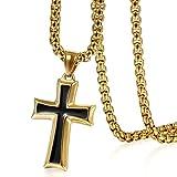 Colgante de cruz en oro negro de acero inoxidable de Oidea, con cadena de 56 cm dorada de plata (para hombres)