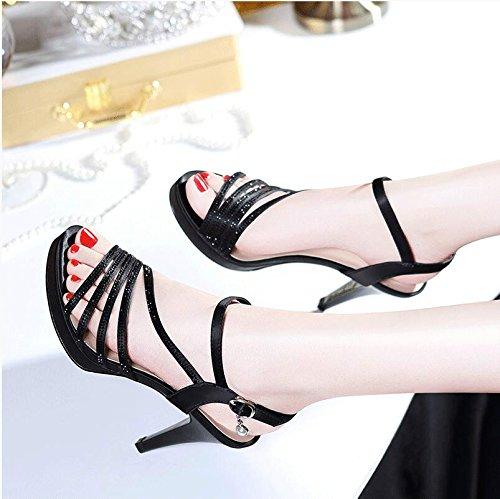 XY&GKSommer High-Heeled Sandalen Damen Sommer Sommer Show Zehen mit Sandalen Wort Dornschließe wasserdicht Taiwan Roms Frauen Sandalen, komfortabel und schön 36 black