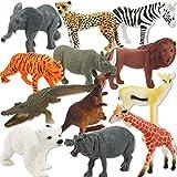 Ensemble-jouet pour animaux - Zoo Animals Toys - Ensemble-cadeau pour figurine en plastique Multi-Animal pour animaux en plastique - Pour enfants (Set de 12)