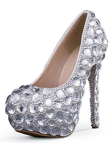 ZQ delle donne scarpe tacco stiletto con tacco matrimonio / partito&?sera / vestito d'argento , 5in & over-silver