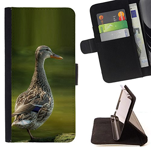 FJCases Ente Tier Tasche Brieftasche Hülle Schale Standfunktion Schutzhülle für Apple iPod Touch 6