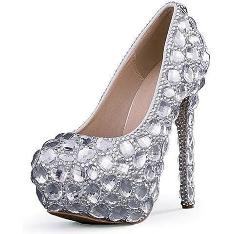 Ei&iLI delle donne scarpe tacco stiletto con tacco matrimonio / partito&sera / vestito d'argento , 5in & over-silver
