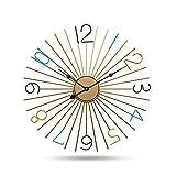 ZGWSR Salon Moderno Estilo Minimalista y Creativo de la Moda Reloj de Pared Dormitorio Tranquilo Hierro Arte Reloj 50 * 50cm