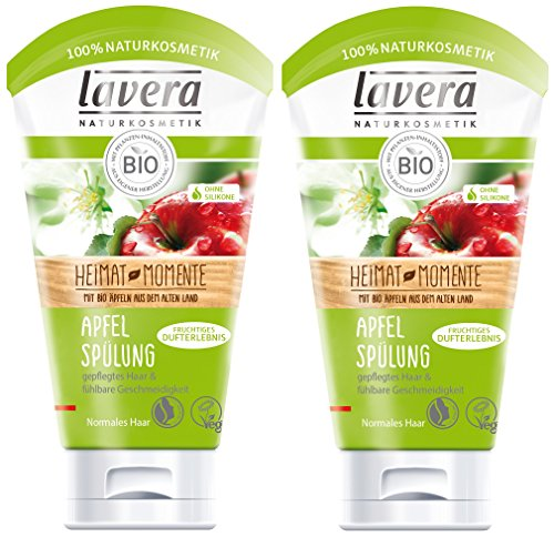 lavera Apfel Haar Spülung ∙ Normale bis trockene Haare ∙ vegan ✔ Bio Haarspülung ✔ Naturkosmetik ✔ Natural & innovative Hair Care ✔ Haarpflege 2er Pack (2 x 150 ml)