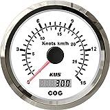 Kus GPS Tacho Kilometerzähler Gauge 15Knoten 28KM/H für Boot Yacht, 85mm mit Hintergrundbeleuchtung (weiß)