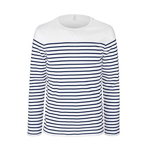 noTrash2003 Langarmshirt Herren Breton gestreift weiß blau Navy Marine Shirt T-Shirt Longsleeve versch. Ausführungen (Weiß, M) - Marine T-shirt Gestreift