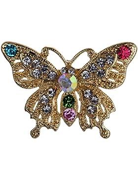 Yazilind Schmuck Stilvolle Gold überzogen Bunte Kristall Schmetterling Broschen und Pins für Hochzeit