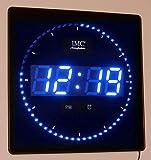 LED - Wanduhr mit Zahlen blau quadratisch digital Uhr Datum Temperatur Alarm S