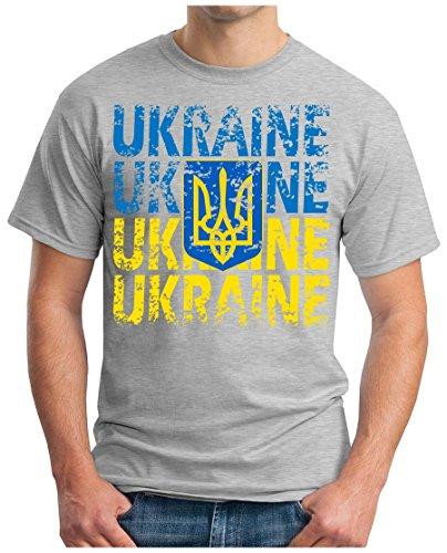 OM3 – UKRAINE – T-Shirt UKRAJINA EM 2016 FRANKREICH FRANCE FUSSBALL FANSHIRT SOCCER CUP SPORT TRIKOT EUROPAMEISTER, XXL, grau meliert