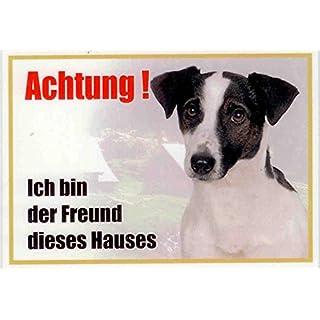 AkaPit Warnschild Jack Russel Terrier schwarz 058 ca. 21 x 15 cm laminiert wasserabweisend Motiv : ` Ich Bin der Freund Dieses Hauses `Verwendbar im Innen und Außenbereich