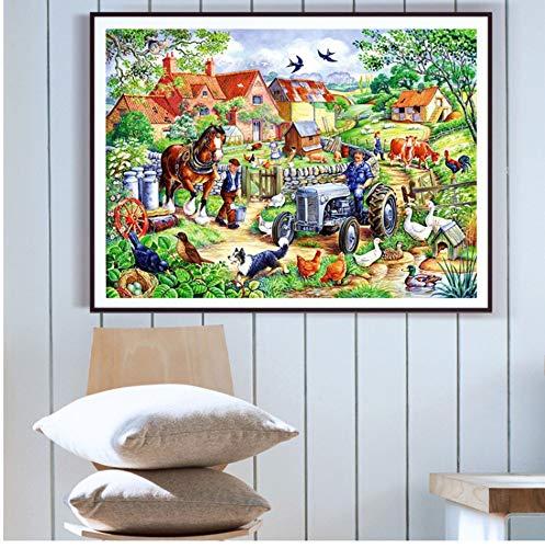 YUUWO Diamant Stickerei Landschaft Dekoration Diamond Painting Bauernhof Kreuzstich Nähen Mosaik Volle Quadrat Diamond Painting Set Full 30X40cm Rahmenlos -