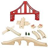 OrgMemory Eisenbahn Set, Hängebrücke, Holzeisenbahn Eisenbahnbrücke, Gebogene Gleise Kompatibel mit Anderer Marken